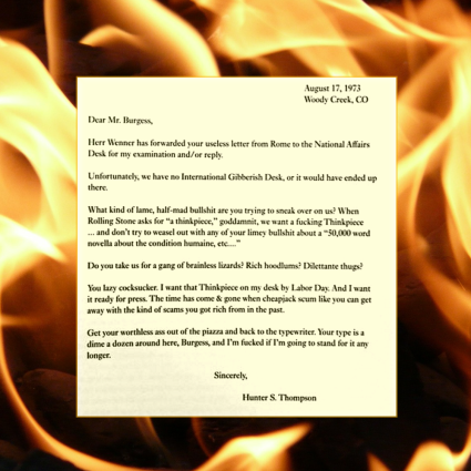 Hunter S. Thompson letter to Anthony Burgess