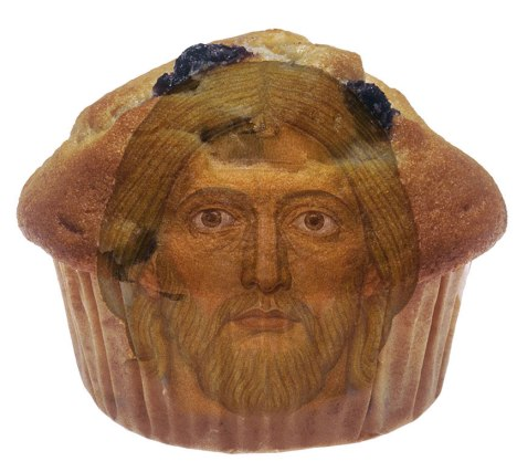 Jesus Christ's face in a muffin