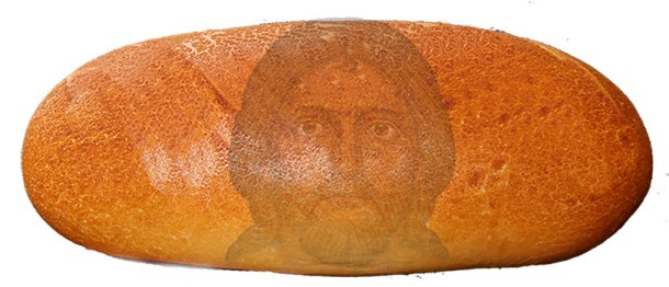 Jesus Christ's face in bread